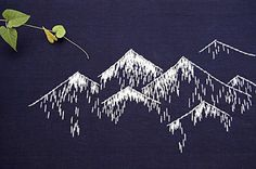 sashiko embroidery, mountain embroidery, mountains stitching, mature embrtoidery,