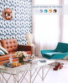 Wall covering color designs to contrast with your furniture. www.kiaradecor.com