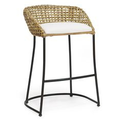 "Airy and organic, Palecek's Vero counter barstool boasts island-style modernity. A double wall of open rattan weaves around a black-finished iron frame for simple yet textural appeal. Minimum purchase of 2; Fabric options available for upholstered seat; Shown in In/Out Sailcloth Salt; 24""W x 21.75""D x 29.75""H; Seat: 24""H"