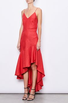 MLM LABEL Resort 17 Romance Linen Midi Dress Red. The Romance Dress has a form-fitting style which cascades into a mid-length, layered bottom. The strikingly elegant style has details of thin shoulder straps, a side-split and a draped back, owing to The Romance Dress's lively and sultry spirit.