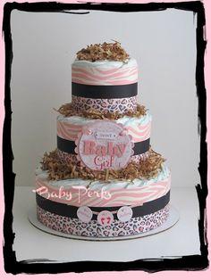 Safari Diaper Cake , Safari Girl Baby Shower , Zebra Diaper Cake. $49.00, via Etsy.