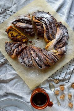 Chocolate spread and crystallised ginger filled yeasted spiced pumpkin bread twist