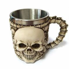 350ML Double Wall Stainless Steel 3D Skull Coffee Mugs