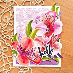 Our Build-A-Flower: Peruvian Lily set includes 1 stamp set stamp images) and 1 coordinating die set dies). The Peruvian Lily, also known as Alstroemeria, blooms in a variety of colors and is native to South America. Some petals are flecked wit Scrapbook Blog, Scrapbook Designs, Scrapbooking, Flower Stamp, Flower Cards, Peruvian Lilies, Altenew Cards, Beautiful Handmade Cards, Altenew Beautiful Day Cards