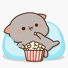 蜜桃猫 Cute Kawaii Animals, Cute Animal Drawings Kawaii, Cute Cartoon Animals, Kawaii Cat, Cute Baby Animals, Cute Drawings, Cute Couple Cartoon, Cute Love Cartoons, Cute Love Pictures