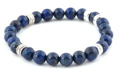 [BRACELET BE ENERGIZED LAPIS / LAPIS BE ENERGIZED BRACELET] Bracelet pour hommes en lapis 8mm et argent 925. | Bracelet for men in 8mm lapis and sterling silver.