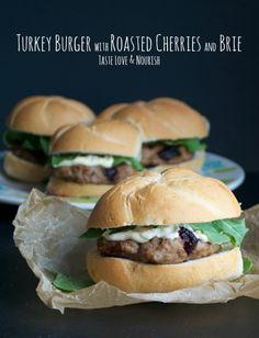 Turkey Burger with Roasted Cherries and Brie www.tasteloveandnourish.com