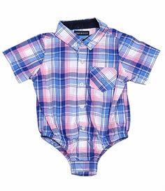 0a5b8ddba Andy & Evan Baby Boys Blue / Pink Madras Plaid Short Sleeve Shirtzie Shirt  Boys Formal