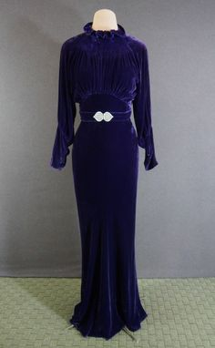 Vtg 30s Deco Purple Silk Velvet Bias Cocktail Party Dress Rhinestone Buckle XS S (178)