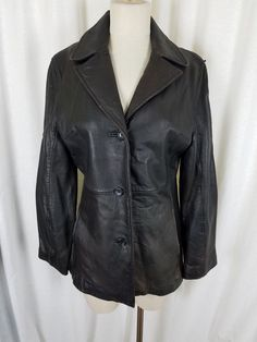L Marc New York Women/'s Black Funnel-Collar Belted Leather Jacket Size S M