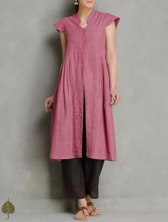 Dark Pink Cotton Side Pleated Kurta by Jaypore Kids Blouse Designs, Kurti Neck Designs, Kurta Designs Women, Kurta Cotton, Cotton Tunics, Indian Dresses Traditional, Printed Kurti Designs, Simple Pakistani Dresses, Pakistani Suits