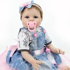 "Reborn Baby Dolls Realistic Newborn Lifelike Vinyl Girl Baby Doll 22"" Handmade #NPKDOLL"