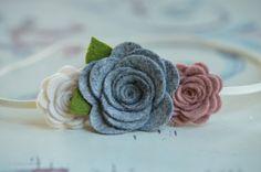 Fall Felt Flower Headband - Grey, Vintage Pink and Off White - Felt Flower Headband For Newborn Baby, Infant, Toddler and Child
