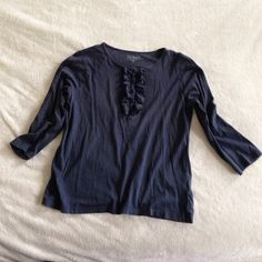 Extra Pictutes ll Bean navy blue Henley XS Darling used LL Bean soft jersey cotton Henley. Size XS but fits like S. LL Bean Tops Button Down Shirts