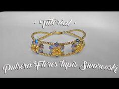 Tutorial pulsera flores tupis Swarovski - YouTube