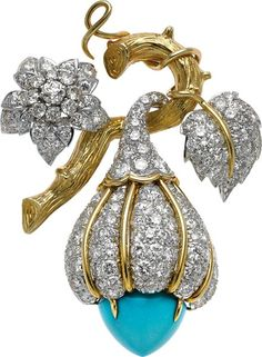 Estate Jewelry:Brooches - Pins, Turquoise, Diamond, Platinum, Gold Clip-Brooch. ...