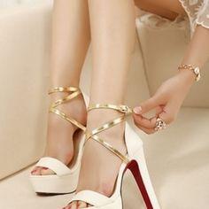 Ankle Strap Cross Strap High Platform Sandals in White #2014highheels #opentoestrapsandals #heels