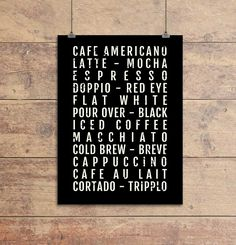 Coffee Print - Café - Coffeeshop - Subway Poster, Boyfriend Gift, Husband Gift, Wall Art, Train Scroll, Bus Scroll, Word Art, Typography. Show your love of coffee with this Coffee Styles - Subway Sign which looks great in your dorm, apartment, kitchen or any other room in your house. This Subway Poster is a great conversation piece and allows you to celebrate your favorite types of beer through a vintage typographic design. The Coffee Styles Subway Sign works well as stand-alone wall art…