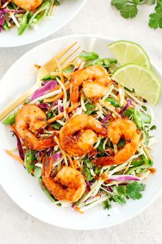 Asian Shrimp Salad with Ginger Sesame Dressing - Eat Yourself Skinny