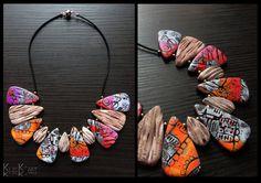 necklace with earrings in polymer clay-Andalousie door Klickart