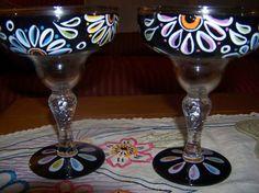 handpainted margarita glasses Painted Rocks, Hand Painted, Margarita Glasses, Wine Bottle Art, Painted Wine Glasses, Glass Ceramic, Glass Ornaments, Glass Art, Arts And Crafts