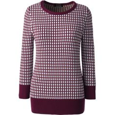 Lands' End Women's Petite Supima 3/4 Sleeve Jacquard Sweater (89 CAD) ❤ liked on Polyvore featuring tops, sweaters, neutral, lands end sweaters, purple sweater, print sweater, patterned sweaters and 3/4 sleeve tops