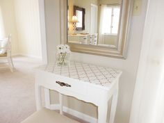 DIY stenciled table using Iron Lattice Wall and Floor Stencil from Stencil Ease. LiveLoveDIY