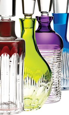 bold pop of colour with these cut crystal decanters from the Mixology Collection by Waterford