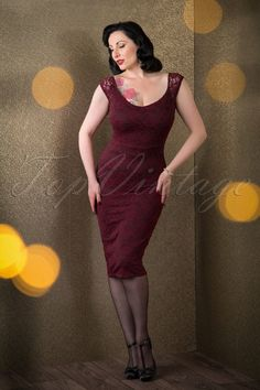 The stunning Ava Elderwood wearing our 50s De Milo Pencil Dress in Wine Lace by Vintage Chic! #AvaElderwood