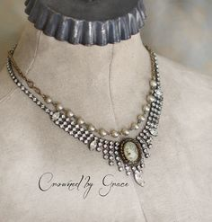 Mary Magdelene ~ vintage assemblage necklace rhinestone cameo pearls repurposed one of a kind crowned by grace by crownedbygrace on Etsy https://www.etsy.com/listing/251893827/mary-magdelene-vintage-assemblage