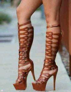 Name: Doris Brown Gladiator Sandals Stiletto Heel Stripper Shoes Price HERE :