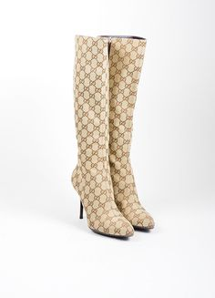 "Tan and Brown Canvas Gucci ""Guccissima"" Monogram Knee High Boots"