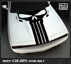 Dodge Challenger Punisher Skull Hood Stripe 2008 2009 2010 2011 2012 2013 2014