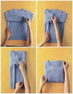 25 Tutorials To Teach You To Fold Things Like An Actual Adult Because I'll need all the possible space in the dorm! Here& 10 space-saving ways to fold your clothes that will make your life easier. Check out this post for simple folding tutorials and techn Diy Organisation, Closet Organization, Clothing Organization, Wardrobe Organisation, How To Fold Sweaters, Organiser Son Dressing, Organizar Closet, Marie Kondo, Laundry Hacks