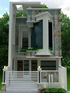 This is MY favorite Duplex House Design, House Front Design, Modern House Design, Dream House Plans, Modern House Plans, Small House Plans, Unusual Homes, House Elevation, Villa Design