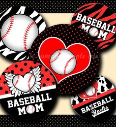 INSTANT DOWNLOAD Baseball Rocks (181) 4x6 Bottle Cap Images Digital Collage Sheet for bottlecaps glass tiles hair bows . bottlecap images. $2.20, via Etsy.