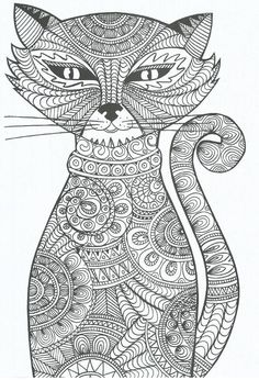 coloring for adults - kleuren voor volwassenen ~ Enjoy everything about #cats - Get the latest Ozzi Cat Magazine! Click here >> http://OzziCat.com.au/issues: