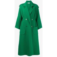 Vika Gazinskaya long double breasted coat ($2,410) ❤ liked on Polyvore featuring outerwear, coats, double breasted coat, vika gazinskaya, wool coat, double breasted woolen coat and green wool coat