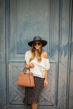 fringe, off the shoulder shirt, chiffon skirt, hat, sunglasses