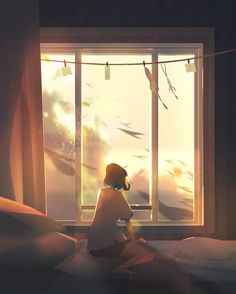 Artist Creates Illustrations That Turn Loneliness Into Magic Art Anime Fille, Anime Art Girl, Aesthetic Art, Aesthetic Anime, Anime Scenery, Pretty Art, American Artists, Digital Illustration, Amazing Art