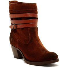 Frye Jane Strappy Short Boot ($146) ❤ liked on Polyvore featuring shoes, boots, ankle booties, ankle boots, brown, brown bootie, frye boots, ankle strap booties and short boots
