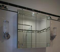 Custom made bevelled edge mirror cabinet, wall sconces. Art Deco Bathroom, Bathroom Gallery, Dream Bathrooms, Beautiful Bathrooms, Beveled Edge Mirror, Mirror Cabinets, Art Deco Fashion, Wall Sconces, Track Lighting