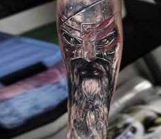 Photo - Perfect 2 colors realistic tattoo style of Warrior Face motive done by artist Andrey Stepanov Face Tattoos, Leg Tattoos, Arm Band Tattoo, Tattoos For Guys, Sleeve Tattoos, Cool Tattoos, Maori Tattoos, Tatto Viking, Viking Warrior Tattoos