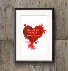 You and me watercolor / Valentine's Day print, instant download, printable art
