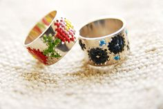 embroidered rings