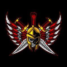 Skull spartan cross sword with wings Pre. Ronin Samurai, Samurai Art, Lucian League Of Legends, Crow Logo, Team Logo Design, Wolf Artwork, Pop Art Wallpaper, Badges, Photo Logo