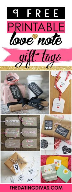 Free printable gift tags for Valentine's Day, Anniversaries, or Just Because. www.TheDatingDivas.com