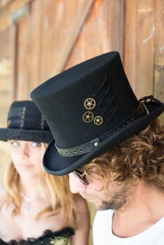 4d7052f338824 Tall steampunk style top hat has secret pocket with satin lining. Steampunk  Top Hat