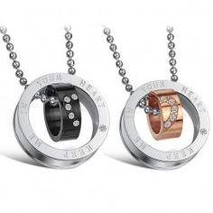 "Gorgeous ""Keep Me In Your Heart"" Ring Pendant Lover's Titanium Necklace(Price For A Pair) - USD $25.95"