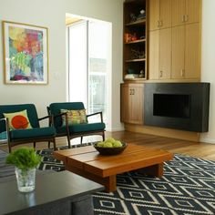Mid century chairs and kilim pillows